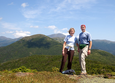 Hiking in the White Mountains. Mount Washington is in the background.